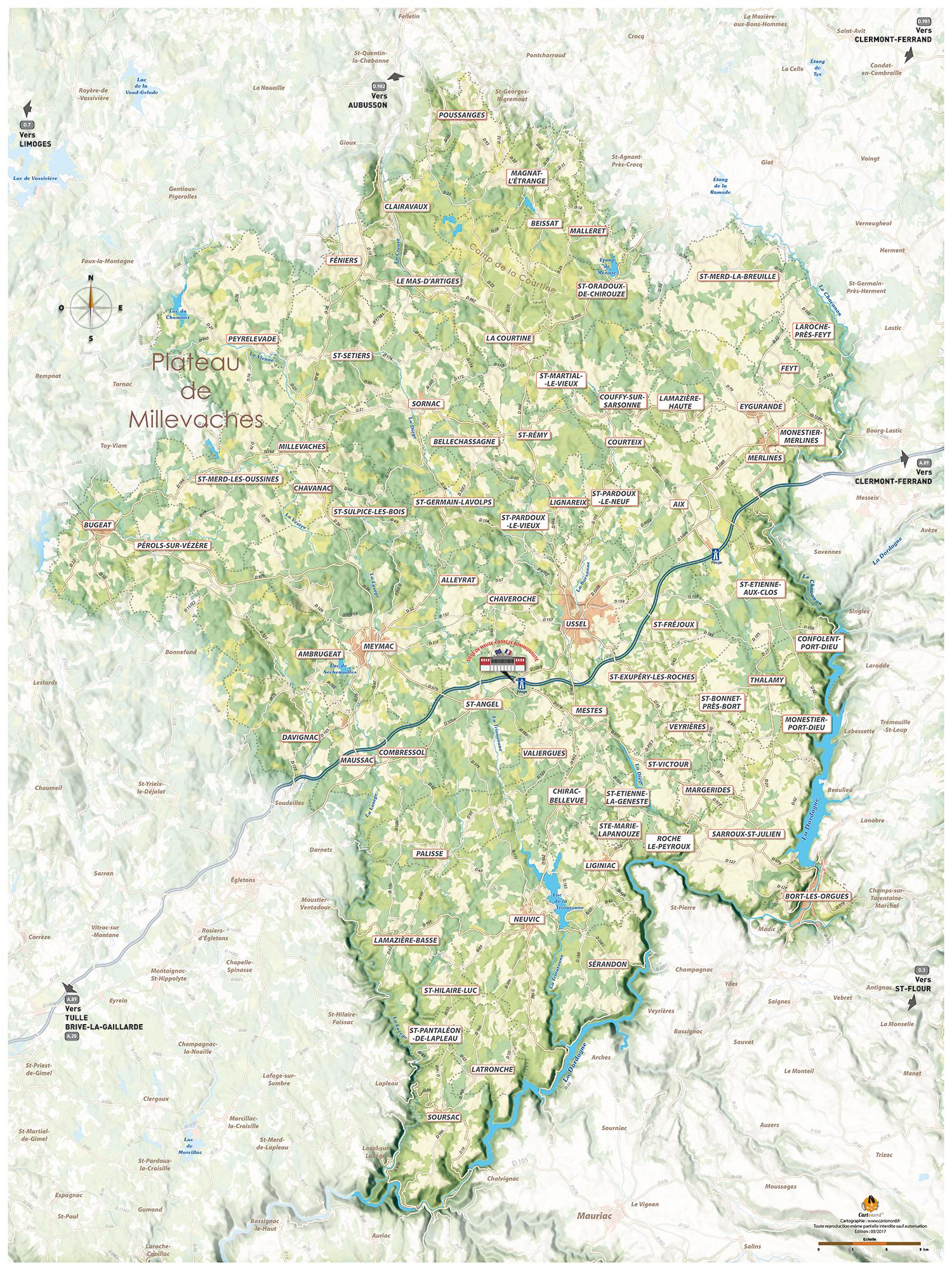 Carte représentant le territoire de Haute-Corrèze Communauté (crédit : Cartonord)
