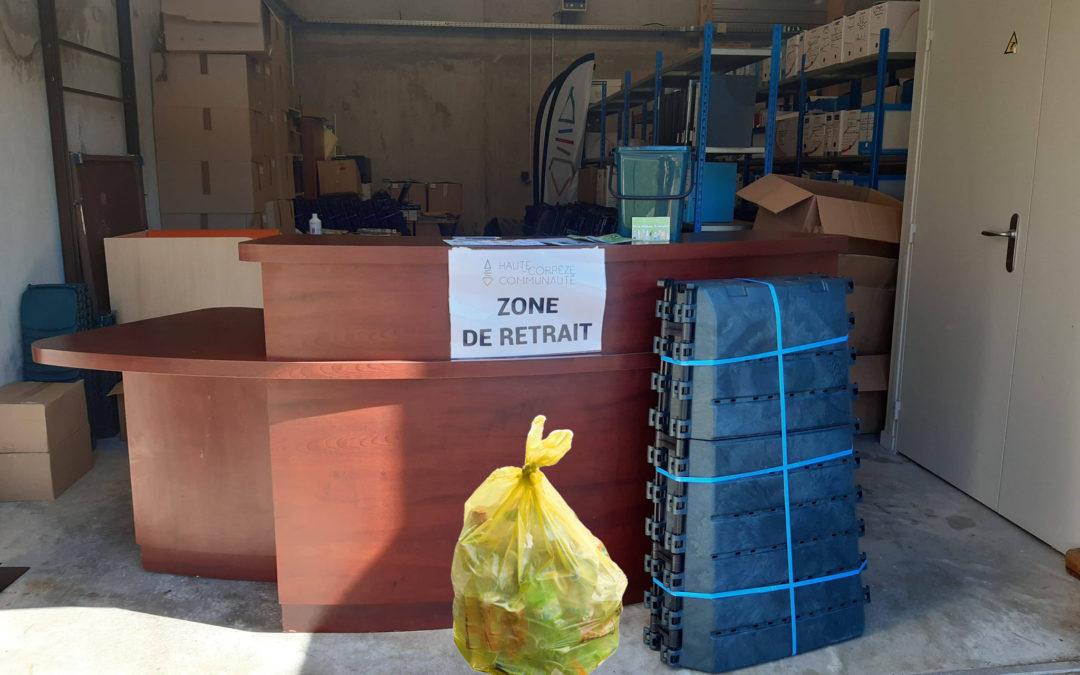 Distribution de sacs jaunes et de composteurs sur RDV