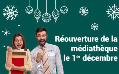 Réouverture de la médiathèque le 1er décembre