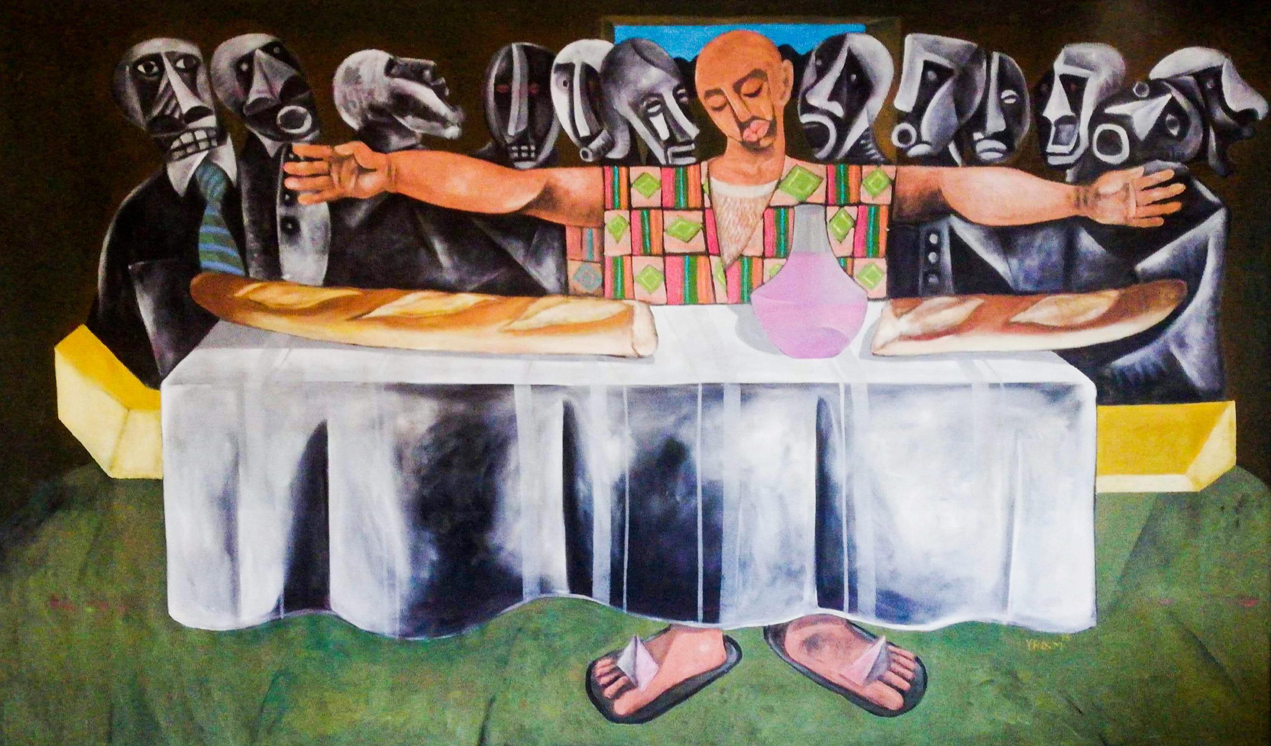 "Yao Metsoko, ""La sainte Cène"", 2013, acrylique sur toile velours, 260 x 150 cm. Courtesy galerie Carole Kvasnevski, Paris."