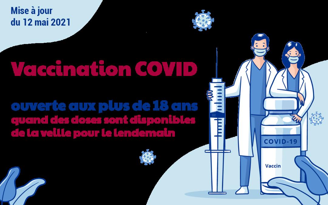 12 mai 2021 : ouverture de la vaccination pour tous les plus de 18 ans